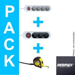 DEBFLEX pack multiprise + mètre gradué-electricité pas cher troyes prix usine prise interrupteur disjoncteur